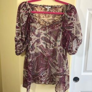 Joie L Sheer Peasant Top With Cami